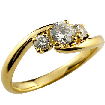婚約指輪 エンゲージリング ダイヤモンド リング 指輪 ダイヤ イエローゴールドk18 スリーストーン トリロジー 18金 ストレート レディース ブライダルジュエリー ウエディング 贈り物 誕生日プレゼント ギフト 妻 嫁 奥さん 女性 彼女 娘 母 祖母 パートナー 送料無料