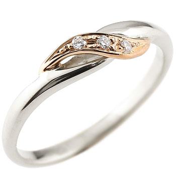 婚約指輪 エンゲージリング ダイヤモンド プラチナリング ピンキーリング ピンクゴールドk18 ダイヤ コンビリング 18金 ストレート 指輪 ブライダルジュエリー ウエディング 贈り物 誕生日プレゼント ギフト 18k 妻 嫁 奥さん 女性 彼女 娘 母 祖母 パートナー 送料無料