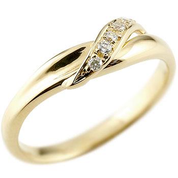 婚約指輪 エンゲージリング ダイヤモンド ピンキーリング イエローゴールドk18 ダイヤ 18金 ストレート 指輪 贈り物 誕生日プレゼント ギフト ファッション 妻 嫁 奥さん 女性 彼女 娘 母 祖母 パートナー 送料無料