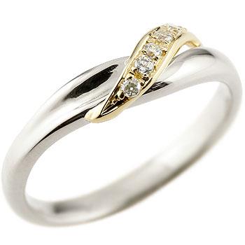 婚約指輪 エンゲージリング ダイヤモンド プラチナリング ピンキーリング イエローゴールドk18 ダイヤ コンビリング 18金 ストレート 指輪 贈り物 誕生日プレゼント ギフト ファッション 18k