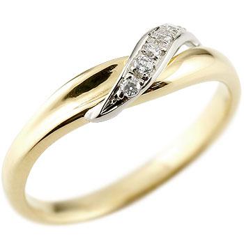 婚約指輪 エンゲージリング ダイヤモンド ピンキーリング イエローゴールドk18 プラチナ ダイヤ 18金 コンビリング ストレート 指輪 レディース 贈り物 誕生日プレゼント ギフト ファッション 18k お返し 妻 嫁 奥さん 女性 彼女 娘 母 祖母 パートナー 送料無料