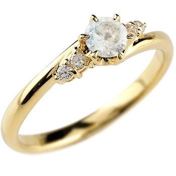 婚約指輪 エンゲージリング ブルームーンストーン ダイヤモンド リング 指輪 一粒 大粒 イエローゴールドK18 ストレート 18金 レディース ブライダルジュエリー ウエディング 贈り物 誕生日プレゼント ギフト 年末 ファッション 18k Xmas Christmas