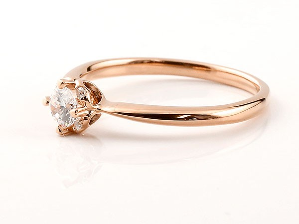 ロマンティックな光 さりげないハートモチーフがポイント 特価キャンペーン エンゲージリング ピンクゴールド ダイヤモンド ダイヤ ハート 送料無料 k18 買物 ダイヤリング 一粒 18金 指輪 大粒ダイヤモンド