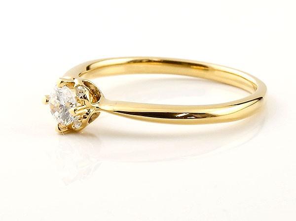 ロマンティックな光 さりげないハートモチーフがポイント エンゲージリング イエローゴールド ダイヤモンド ダイヤ 大決算セール 付与 ハート 指輪 ダイヤリング 18金 送料無料 一粒 大粒ダイヤモンド k18