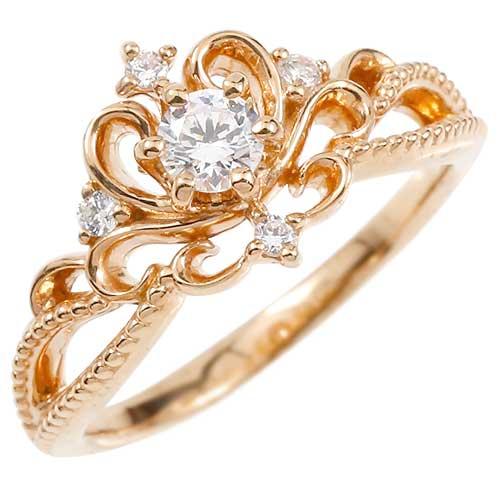 鑑定書付き エンゲージリング VVSクラス ピンクゴールドk18 リング ダイヤモンド ティアラ ミル打ち 指輪 一粒 大粒 ダイヤモンドリング k18 18金 ファッション 18k 妻 嫁 奥さん 女性 彼女 娘 母 祖母 パートナー