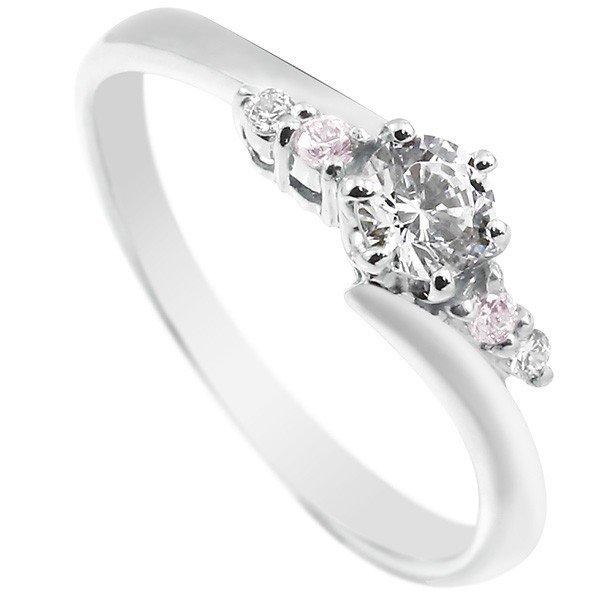 婚約 プラチナ ストレート 指輪 ダイヤモンド エンゲージリング 送料無料 リング SIクラス 大粒ピンクダイヤモンド 鑑定書付き ダイヤ ダイヤ 婚約 一粒 指輪