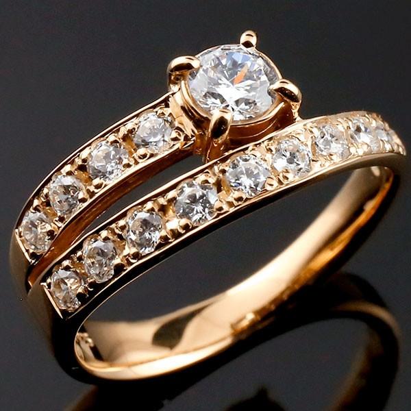 鑑定書付き SIクラス ダイヤモンド 婚約指輪 ピンクゴールドk18 エンゲージリング エタニティ リング エンゲージ 一粒 大粒 リング ダイヤ 18金