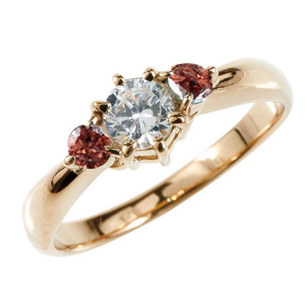 ピンキーリング 鑑定書付 ダイヤモンド リング ガーネット 指輪 大粒 ダイヤ ピンクゴールドK18 18金 ダイヤモンドリング ダイヤ ストレート 宝石