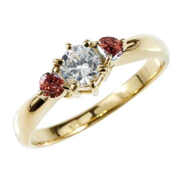 婚約指輪 エンゲージリング ダイヤモンド リング ガーネット 指輪 大粒 ダイヤ イエローゴールドK18 18金 ダイヤモンドリング ダイヤ ストレート レディース ブライダルジュエリー ウエディング 贈り物 ギフト 妻 嫁 奥さん 女性 彼女 娘 母 祖母 パートナー 送料無料