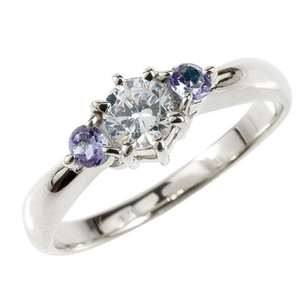 婚約指輪 エンゲージリング ダイヤモンド リング アメジスト 指輪 大粒 ダイヤ ホワイトゴールドK18 18金 ダイヤモンドリング ダイヤ ストレート レディース ブライダルジュエリー ウエディング 贈り物 ギフト 妻 嫁 奥さん 女性 彼女 娘 母 祖母 パートナー 送料無料