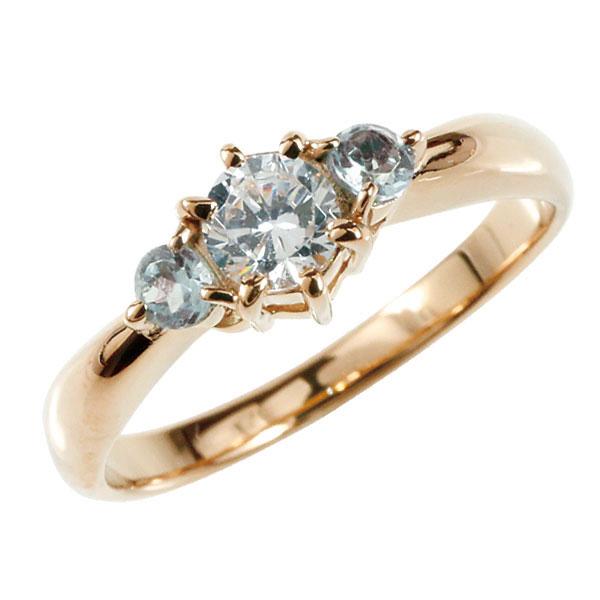 婚約指輪 エンゲージリング ダイヤモンド リング アクアマリン 指輪 大粒 ダイヤ ピンクゴールドK18 18金 ダイヤモンドリング ダイヤ ストレート レディース ブライダルジュエリー ウエディング 贈り物 誕生日プレゼント ギフト お返し