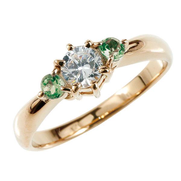 婚約指輪 エンゲージリング ダイヤモンド リング エメラルド 指輪 大粒 ダイヤ ピンクゴールドK18 18金 ダイヤモンドリング ダイヤ ストレート レディース ブライダルジュエリー ウエディング 贈り物 ギフト 妻 嫁 奥さん 女性 彼女 娘 母 祖母 パートナー 送料無料