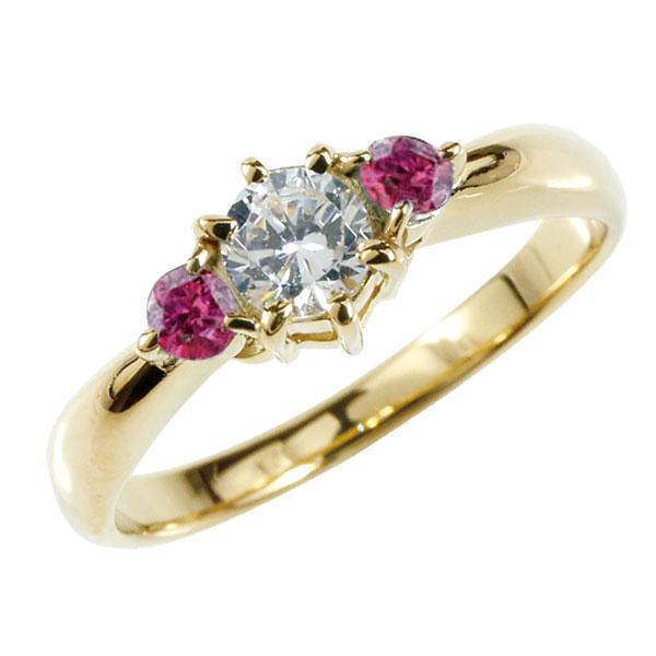 婚約指輪 エンゲージリング ダイヤモンド リング ルビー 指輪 大粒 ダイヤ イエローゴールドK18 18金 ダイヤモンドリング ダイヤ ストレート ブライダルジュエリー ウエディング 贈り物 誕生日プレゼント ギフト 妻 嫁 奥さん 女性 彼女 娘 母 祖母 パートナー 送料無料