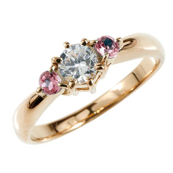婚約指輪 エンゲージリング ダイヤモンド リング ピンクサファイア 指輪 大粒 ダイヤ ピンクゴールドK18 18金 ダイヤモンドリング ダイヤ ストレート レディース ブライダルジュエリー ウエディング 贈り物 誕生日プレゼント ギフト 18k