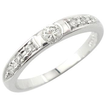 ピンキーリング ダイヤモンド エタニティ 鑑定書 リング エタニティ 指輪 ホワイトゴールドK18 一粒 SI 18金 ダイヤ ストレート