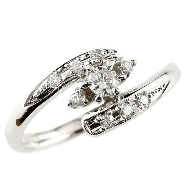 ピンキーリング 鑑定書付 ダイヤモンドリング 指輪 ダイヤモンド ホワイトゴールドK18 ダイヤ SI 18金 ストレート