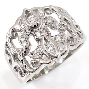 【送料無料】アンティーク ダイヤモンド リング ホワイトゴールドK18 婚約指輪 エンゲージリング 指輪 18金 ダイヤモンドリング ダイヤ ストレート 贈り物 誕生日プレゼント ギフト ファッション 妻 嫁 奥さん 女性 彼女 娘 母 祖母 パートナー