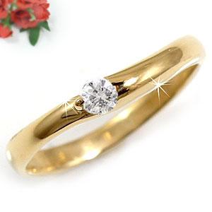 エンゲージリング 婚約指輪 ピンキーリング ダイヤモンド リング 一粒 イエローゴールドk18 K18 18金 ダイヤモンドリング ダイヤ ストレート 贈り物 誕生日プレゼント ギフト ファッション 18k