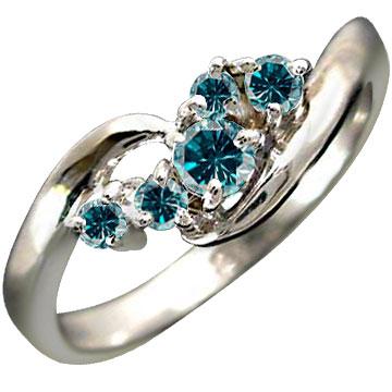 エンゲージリング 指輪 ブルーダイヤモンド リング ピンキーリング ダイヤ ホワイトゴールドK18 18金 ダイヤモンドリング ストレート 贈り物 誕生日プレゼント ギフト ファッション 妻 嫁 奥さん 女性 彼女 娘 母 祖母 パートナー 送料無料
