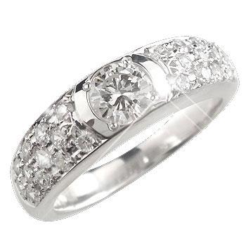 鑑定書付き ダイヤモンド プラチナ パヴェリング エンゲージリング 婚約指輪 一粒 大粒 ダイヤモンドリング ダイヤ ストレート 贈り物 誕生日プレゼント ギフト ファッション 妻 嫁 奥さん 女性 彼女 娘 母 祖母 パートナー 送料無料
