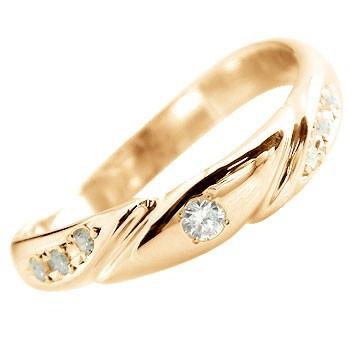 エンゲージリング 婚約指輪 ダイヤモンド リング ピンキーリング ダイヤ 指輪 ピンクゴールドk18 18金 ダイヤモンドリング ストレート 贈り物 誕生日プレゼント ギフト ファッション 18k