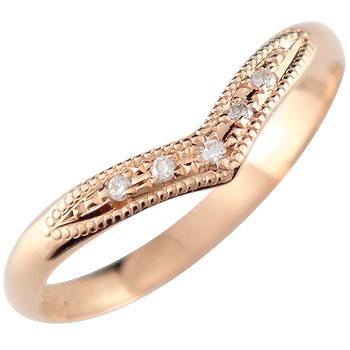 婚約指輪 ダイヤモンド ダイヤ リング ピンクゴールドk18 指輪 ミル打ち 18金 ダイヤモンドリング ウェーブリング ストレート 2.3 女性 ペア 送料無料