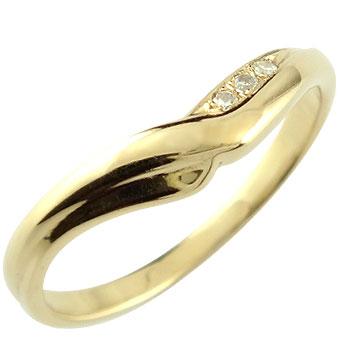 V字 婚約指輪 エンゲージリング ダイヤモンド イエローゴールドk18 18金 ダイヤモンドリング ウェーブリング ダイヤ 贈り物 誕生日プレゼント ギフト ファッション