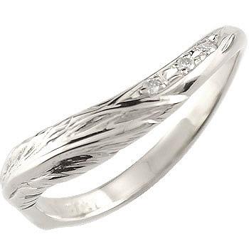 V字 婚約指輪 エンゲージリング ダイヤモンド フェザー ホワイトゴールドk18 18金 ダイヤモンドリング ウェーブリング ダイヤ 贈り物 誕生日プレゼント ギフト ファッション