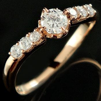 婚約指輪 エンゲージリング ダイヤモンド リング ピンクゴールドk18 18金 ダイヤモンドリング ダイヤ ストレート 贈り物 誕生日プレゼント ギフト ファッション 妻 嫁 奥さん 女性 彼女 娘 母 祖母 パートナー 送料無料