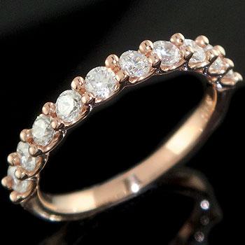 婚約指輪 エンゲージリング ダイヤモンドリング ハーフエタニティ ピンクゴールドk18 18金 ダイヤ ストレート 贈り物 誕生日プレゼント ギフト ファッション 18k