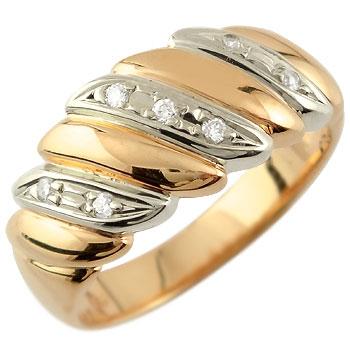 婚約指輪 エンゲージリング ダイヤモンド リング 幅広 指輪 ピンクゴールドk18 コンビ 18金 ダイヤモンドリング ダイヤ ストレート 贈り物 誕生日プレゼント ギフト ファッション 18k 妻 嫁 奥さん 女性 彼女 娘 母 祖母 パートナー 送料無料