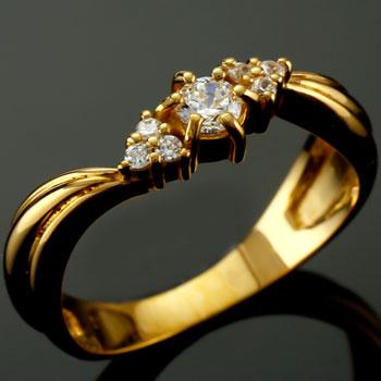 婚約指輪 エンゲージリング ダイヤモンド リング イエローゴールドk18 18金 ダイヤモンドリング ダイヤ ストレート 贈り物 誕生日プレゼント ギフト ファッション 妻 嫁 奥さん 女性 彼女 娘 母 祖母 パートナー 送料無料