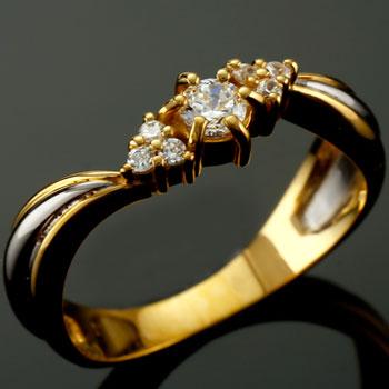 鑑定書付 婚約指輪 エンゲージリング プラチナ ダイヤモンド リング イエローゴールドk18 18金 ダイヤモンドリング ダイヤ ストレート 贈り物 誕生日プレゼント ギフト ファッション 18k 妻 嫁 奥さん 女性 彼女 娘 母 祖母 パートナー 送料無料