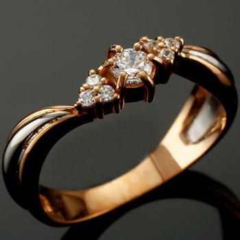 鑑定書付 婚約指輪 エンゲージリング プラチナ ダイヤモンド リング ピンクゴールドk18 18金 ダイヤモンドリング ダイヤ ストレート 贈り物 誕生日プレゼント ギフト ファッション 18k 妻 嫁 奥さん 女性 彼女 娘 母 祖母 パートナー 送料無料