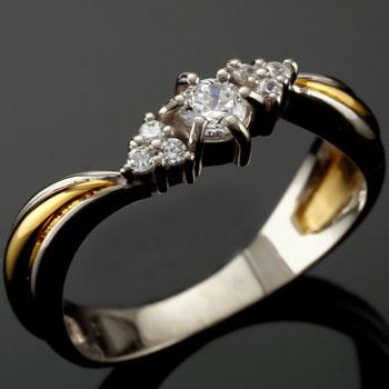 婚約指輪 エンゲージリング プラチナ ダイヤモンド リング イエローゴールドk18 18金 ダイヤモンドリング ダイヤ ストレート 贈り物 誕生日プレゼント ギフト ファッション 妻 嫁 奥さん 女性 彼女 娘 母 祖母 パートナー 送料無料