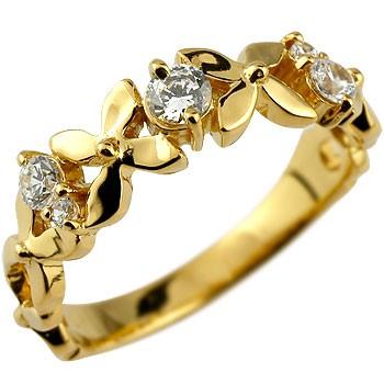 婚約指輪 エンゲージリング ダイヤモンド リング イエローゴールドk18 ダイヤ フラワー 花 18金 ダイヤモンドリング ストレート 贈り物 誕生日プレゼント ギフト ファッション 18k 妻 嫁 奥さん 女性 彼女 娘 母 祖母 パートナー 送料無料
