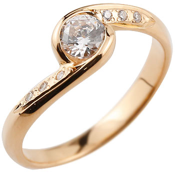 エンゲージリング 婚約指輪 ダイヤモンド リング ダイヤ 大粒 指輪 ダイヤモンドリング ピンクゴールドk18 18金 ストレート レディース ブライダルジュエリー ウエディング 贈り物 誕生日プレゼント ギフト 年末 ファッション 18k お返し Xmas Christmas