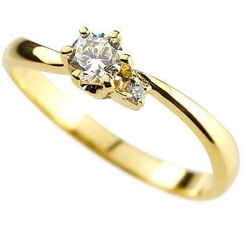 婚約指輪 エンゲージリング ダイヤモンド リング 指輪 ピンキーリング ダイヤ ダイヤモンドリング イエローゴールドk18 18金 一粒 大粒 レディース ストレート 贈り物 誕生日プレゼント ギフト ファッション 18k お返し