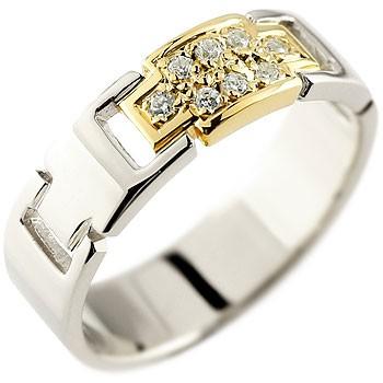 婚約指輪 エンゲージリング クロス ダイヤモンド リング プラチナ イエローゴールドk18 コンビリング ダイヤモンドリング ダイヤ 幅広指輪 レディース 18金 贈り物 誕生日プレゼント ギフト ファッション 18k お返し 妻 嫁 奥さん 女性 彼女 娘 母 祖母 パートナー 送料無料