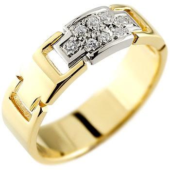 婚約指輪 エンゲージリング クロス ダイヤモンド リング イエローゴールドk18 プラチナ コンビリング ダイヤモンドリング ダイヤ 幅広指輪 レディース 18金 贈り物 誕生日プレゼント ギフト ファッション 18k お返し 妻 嫁 奥さん 女性 彼女 娘 母 祖母 パートナー 送料無料