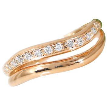 【送料無料】エンゲージリング 指輪 ダイヤモンド リング 婚約指輪 エタニティリング ピンクゴールドK18 2連リング 18金 ダイヤモンドリング ダイヤ ストレート 贈り物 誕生日プレゼント ギフト ファッション 18k