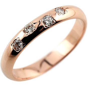 【送料無料】ダイヤモンド ピンクゴールドK18 婚約指輪 エンゲージリング 18金 ダイヤモンドリング ダイヤ ストレート 贈り物 誕生日プレゼント ギフト ファッション 18k 妻 嫁 奥さん 女性 彼女 娘 母 祖母 パートナー