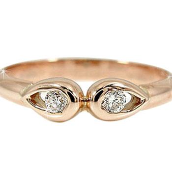 ダイヤモンド ピンクゴールドK18 婚約指輪 エンゲージリング 18金 ダイヤモンドリング ダイヤ ストレート プレゼント 女性 ペア 送料無料