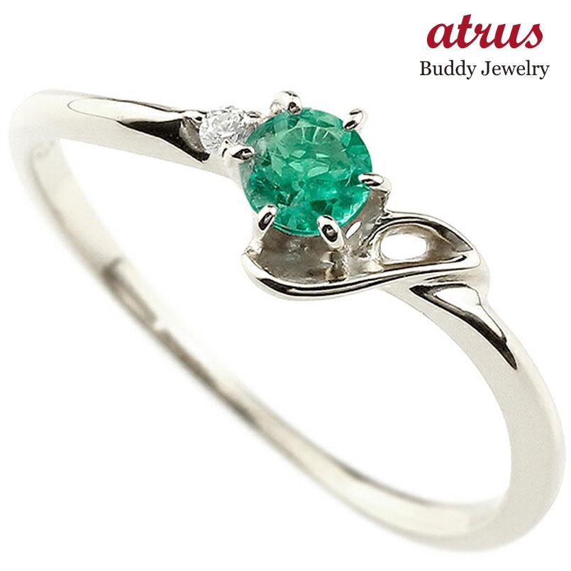 【送料無料】ピンキーリング エンゲージリング イニシャル ネーム J 婚約指輪 エメラルド ダイヤモンド プラチナ 指輪 アルファベット レディース 5月誕生石 人気 ファッション お返し