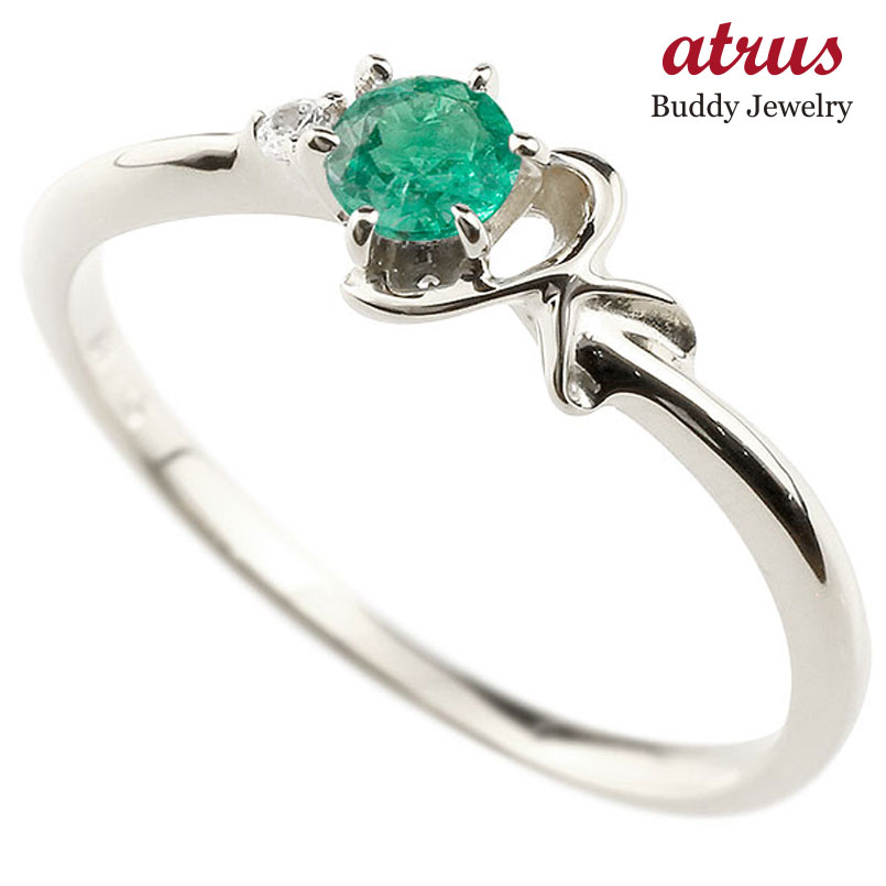 【送料無料】ピンキーリング エンゲージリング イニシャル ネーム K 婚約指輪 エメラルド ダイヤモンド プラチナ 指輪 アルファベット レディース 5月誕生石 人気 ファッション お返し