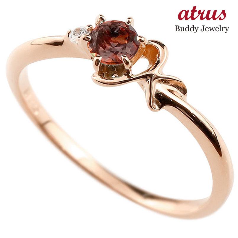 【送料無料】ピンキーリング エンゲージリング イニシャル ネーム K 婚約指輪 ガーネット ダイヤモンド ピンクゴールドk10 指輪 アルファベット 10金 レディース 1月誕生石 人気 ファッション お返し