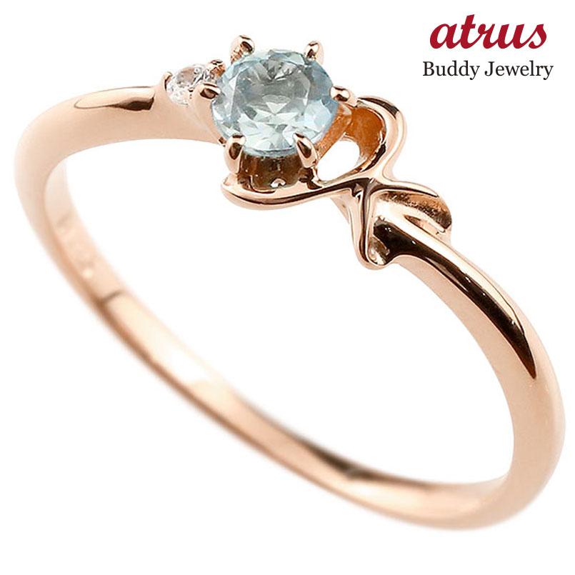 【送料無料】ピンキーリング エンゲージリング イニシャル ネーム K 婚約指輪 アクアマリン ダイヤモンド ピンクゴールドk18 指輪 アルファベット 18金 レディース 3月誕生石 人気 ファッション お返し
