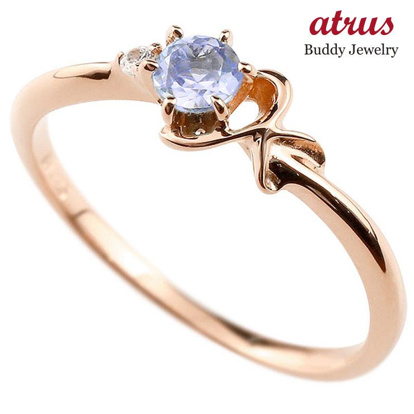 【送料無料】ピンキーリング エンゲージリング イニシャル ネーム K 婚約指輪 タンザナイト ダイヤモンド ピンクゴールドk10 指輪 アルファベット 10金 レディース 12月誕生石 人気 ファッション お返し
