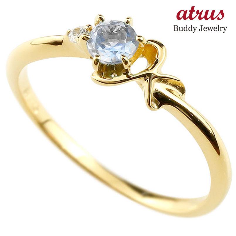 【送料無料】ピンキーリング エンゲージリング イニシャル ネーム K 婚約指輪 ブルームーンストーン ダイヤモンド イエローゴールドk10 指輪 アルファベット 10金 レディース 6月誕生石 人気 ファッション お返し