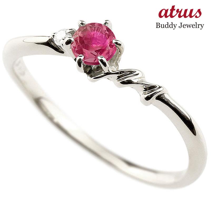 【送料無料】ピンキーリング エンゲージリング イニシャル ネーム M 婚約指輪 ルビー ダイヤモンド ホワイトゴールドk18 指輪 アルファベット 18金 レディース 7月誕生石 人気 ファッション お返し
